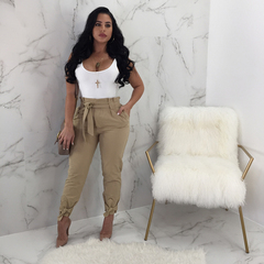 Fashion sexy Women Long Pants  Casual Belt Leisure Office ladies high waisted bowknot Trousers khaki s