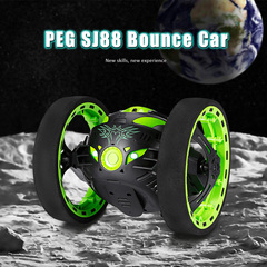 Mini Bounce Car Flexible Wheels Rotation LED Light Remote Control Robot Toy children chrismas Gift green one size