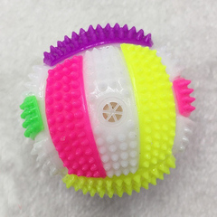 Flashing Football Shape LED Light Sound Bouncy Ball children Christmas new year gift Kids Funny Toy one color one size