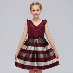 Striped Dress For Girls Formal Wedding Party Kids Princess Christmas costume Children Girls Clothing red 100