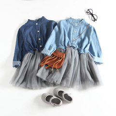 Fashion Mesh Children Princess Dress PinkWool Bow Design Girl Long sleeve denim Fluffy-dress skirt Light blue 1 90
