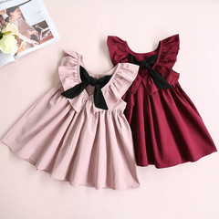 2018 New Fashion Style Children Sleeveless Hollow halter Kids Bow Girls Baby Princess Clothing Dress pink 90