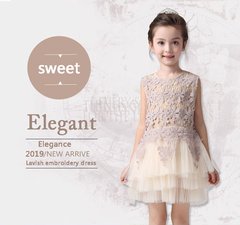 Girl's new high quality Round neck sleeveless lace mesh princess pompous wedding dress gift the picture 100