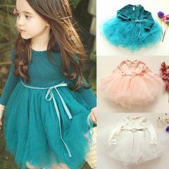 Hot style 2019 new fashion girls' long-sleeved pure cotton mesh children's princess pengpeng dress blue 100