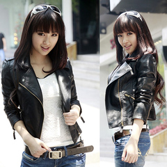 New fashion women PU leather short slim ladies motorcycle suit  jacket cool cotton rider jacket black s