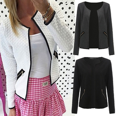 Women Coat Long Sleeve Solid Silm Jacket Fashion Zipper Cardigans Pockets O Neck Female Outwear Tops white s