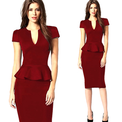 Fashion office lady v-neck short sleeves high waist falbala Pure color stretch Pencil women's dress l red
