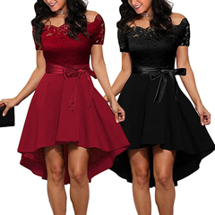 Elegant Red Lace Women's Patchwork Slash Neck Short Sleeve Sashes Tunic Ladies Sexy Party Dresses s red