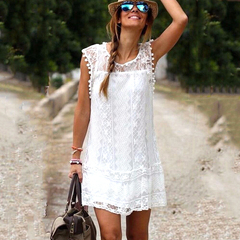 New 2019 Women's Casual Beach Short Dress Tassel White Mini Lace Sexy lady Party Dresses Vestidos s white