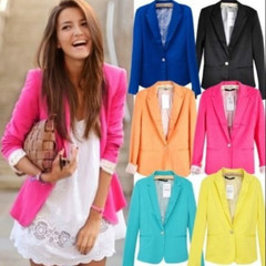 New 2019 Hot Blazer classic Women Candy Color Jackets Suit Slim yards Ladies Blazers Work Wear pink xs