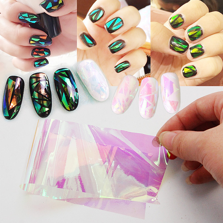 10 pcs Colorful Broken Mirror Glass Nail Sticker Foil Tips Stencil Decal Nail  Art Sticker Care DIY the picture