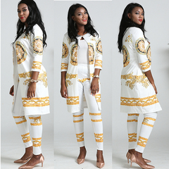 Fashion women's New printed suit leggings three quarter sleeve coat and pants two-piece the picture l