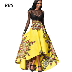 RBS 2019 New summer Women Sexy Printed Boho ladies red Long Dress Beach Evening Party plus size yellow s