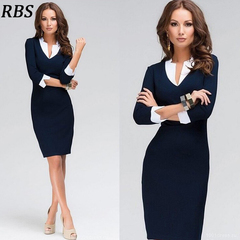 RBS OL Knee-length Navy Blue Sheath Women Sexy V-neck Long Sleeve Bodycon Slim ladies Pencil Dresses s navy blue