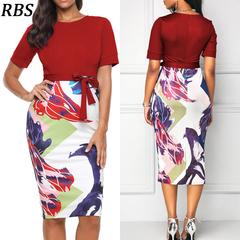 RBS Professional Women's Office ladies O-neck Neck belt Printing Patchwork Bodycon Pencil Dresses s red