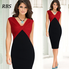 RBS Newly women's sexy sleeveless  patchwork V-neck office ladies slim bodycon pencil dresses s red