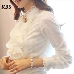 RBS 2019 Professional office ladies Shirt Long-sleeved Flounce Chiffon Shirt Slim Women's Clothing white s