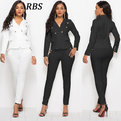 RBS Professional set newly women's suits fashion Office Lady long sleeve blazer pants work wear black s