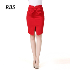 RBS Women's fashion bows hip high waist skirt stretch office laides professional bodycon skirt large red s