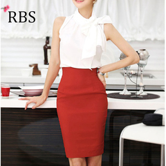 RBS Women Sexy Slim Package Hip High waist Solid color A-line skirt office ladies long pencil dress red xs