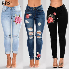 RBS Women Stretch Flower Embroidered High Waist  ladies Jeans Pencil Slim Skinny Female Denim Pants blue s