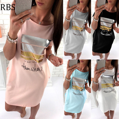 RBS Women's Loose Plus Size Long T Shirts Dress ladies Casual Cute Short Sleeve Letter Print Vestido s pink