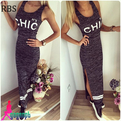 RBS Newly women's sexy sleeveless casual long dress silm printing Split Sports dress s deep gray