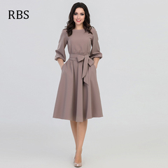 RBS 2019 Office ladies O-Neck Solid color Women Elegant Vintage Bohemian Beach Casual Loose Dresses s Khaki