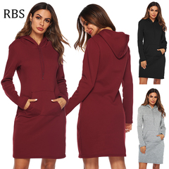 RBS Women Pockets Pullover Solid color Casual Lace Tracksuit Hoodies Sweatshirt Female Slim Dress s wine red