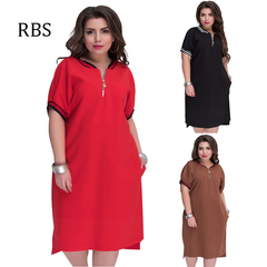 RBS New XL-6XL 2019 Fashion Casual Sexy Elegance Women's Dress Solid color Plus Size Sweatshirt xl red