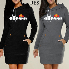 RBS High Collar Women Solid color Long Sleeve Sweater Slim Type printing ladies Dress Popular Hoodie s navy gray