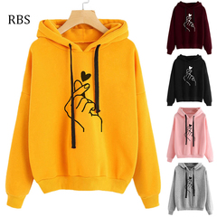 RBS Lowest price promotion 2019 Hoodies Sweatshirt Streetwear Heart Print Women Fashion Casual Top yellow s