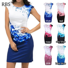 RBS New promotion Crazy Purchase Women Sleeveless Floral Print lady Party Evening Pencil Mini Dress s blue