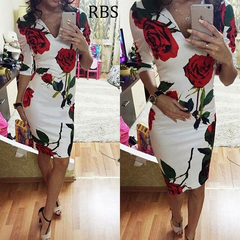 RBS Newly Women Sexy V-neck Rose Printing HalfSleeve Office Ladies Slim Fit Package Hip Pencil Dress m white