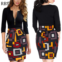 RBS New promotion high quality Women's Deep-V Neck Slim printing ladies Sexy Business Pencil Dress s black