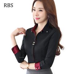 RBS New promotion Crazy Purchase work wear long sleeve women black Shirt office ladies slim tops black s