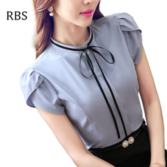 RBS New promotion Crazy Purchase women  o-neck shirt blouse female short sleeve work wear top ladies gray s