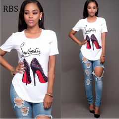 RBS New promotion Crazy Purchase Women  Printed Tops Casual Female Girls T-shirts Plus Size white m