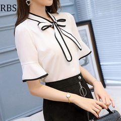 RBS New promotion Crazy Purchase Women bow-knot shirt Solid color work wear office ladies tops white s