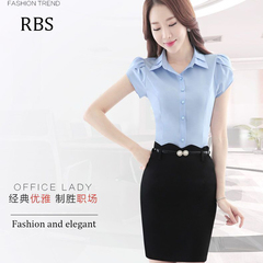 RBS New promotion Crazy Purchase Women Solid color work wear high quality shirt office ladies tops blue s