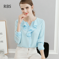 RBS New promotion Crazy Purchase Women Chiffon shirt falbala office ladies High quality work tops blue s