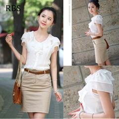 RBS New promotion Crazy Purchase Women Chiffon shirt falbala office ladies High quality work tops white s