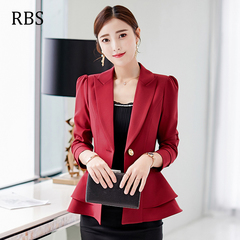 RBS New promotion Crazy Purchase Women Ruffle suit Solid color high quality ladies coat work wear wine red s