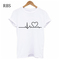RBS New promotion Crazy Purchase The last 3 days High quality Printed Women T-shirts Casual Tops white heart m
