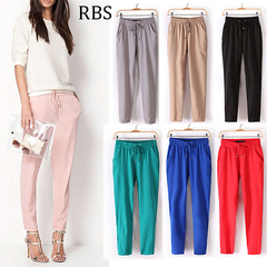 RBS 2019 New product promotion lowest price high quality Ladies Chiffon Pants Women Casual Trousers pink m
