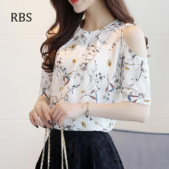 RBS 2019New product promotion lowest price high quality ladies Print top Women Open Shoulder Blouses white s