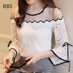 RBS 2019 New product promotion lowest price high quality Women Lace Chiffon Blouse Ladies Top O-neck white s