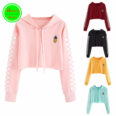 RBS New promotion Crazy Purchase Women Crop Tops Sweatshirt Pineapple Gingham Plaid Hoodies Pullover pink s