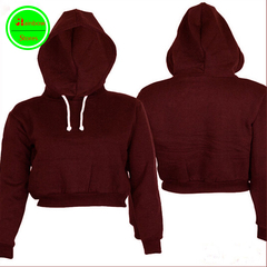 RBS High quality Women Hot Sale Crop Hoodie Long Sleeve Pullover Coat Casual Girl Sweatshirt Top wine red s