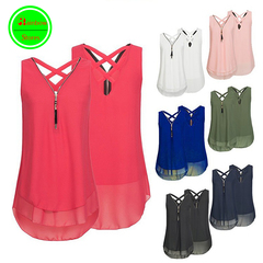 RBS New promotion Crazy Purchase High quality Women Sleeveless double-deck chiffon shirt ladies tops rose red s